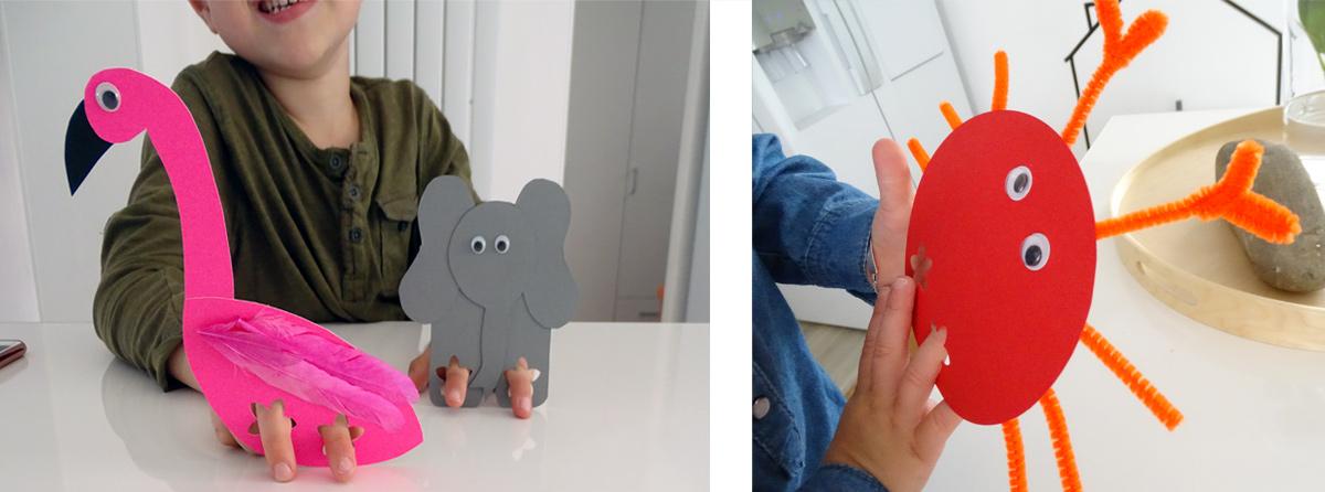 Mit selbstgebastelten Fingertieren spielen