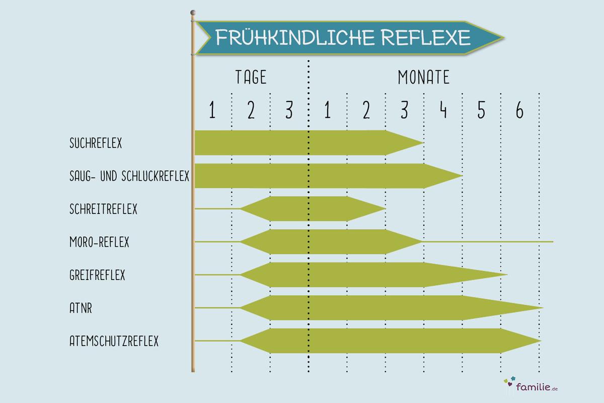 Tabelle für frühkindliche Reflexe beim Baby