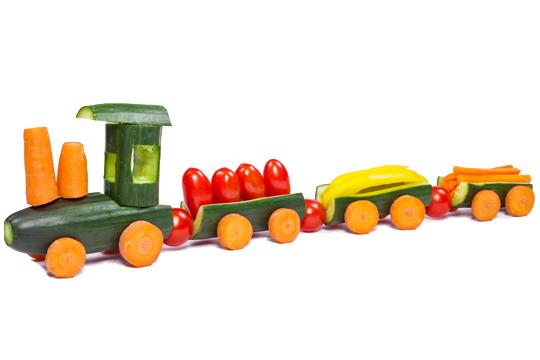 Gemüsezug zur Kinderparty
