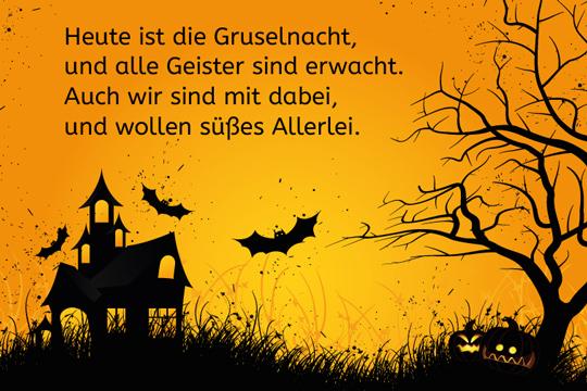 Heute ist die Gruselnacht - lustige Halloweensprüche