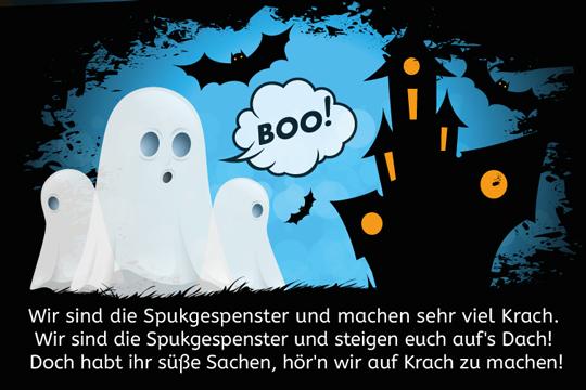 Wir sind die Spukgespenster - Halloween-Spruch