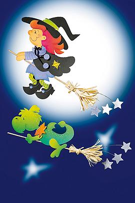 Halloween basteln: Fesnterbild Hexe auf Besen