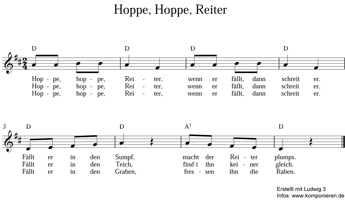 Hoppe hoppe Reiter Noten