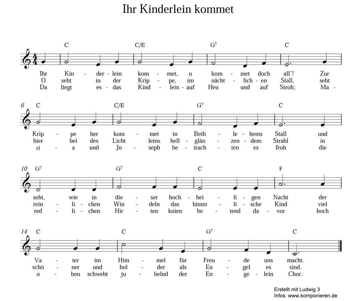 Glockenspiel Weihnachtslieder Noten Kostenlos.Ihr Kinderlein Kommet Text Und Noten Familie De