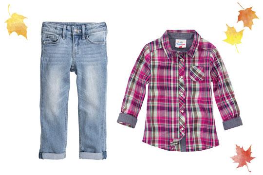 Karierte Mächen-Bluse in Pink