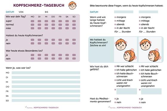 Kopfschmerztagebuch für Kinder zum Download