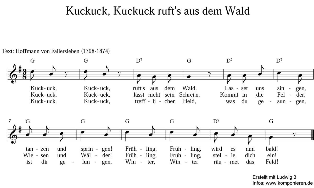Kuckuck, Kuckuck, ruft's aus dem Wald Noten