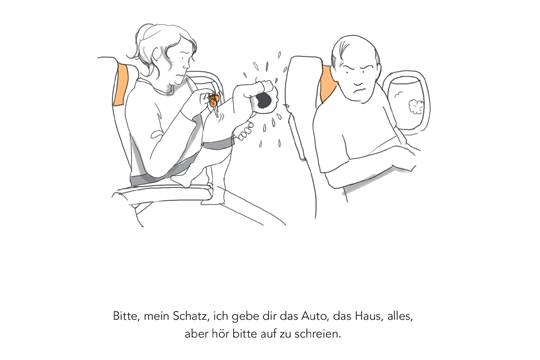 Mein Baby und ich im Flugzeug