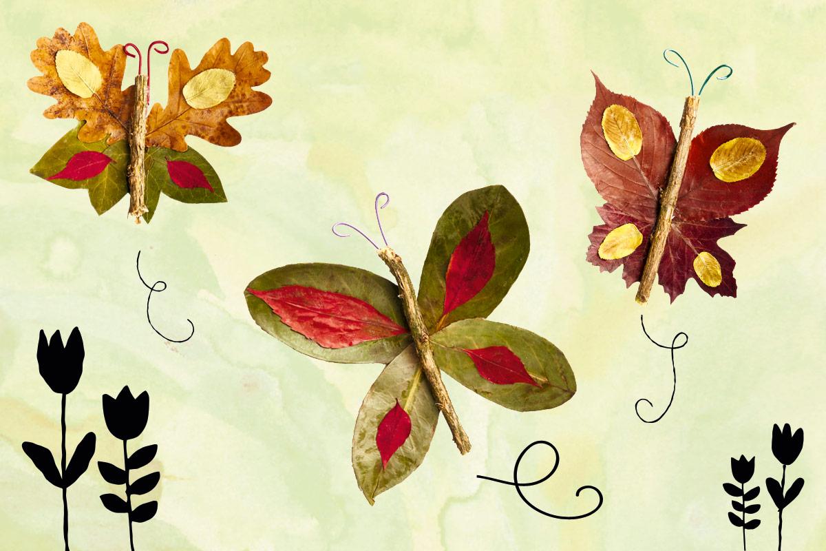 Basteln Mit Laub Blätterschmetterlinge Familie De