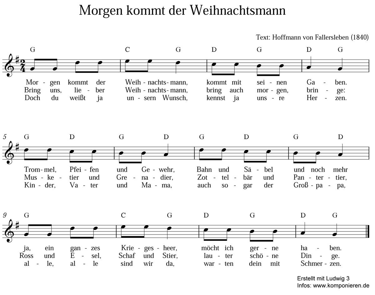 Morgen kommt der Weihnachtsmann - Text und Noten - Familie.de