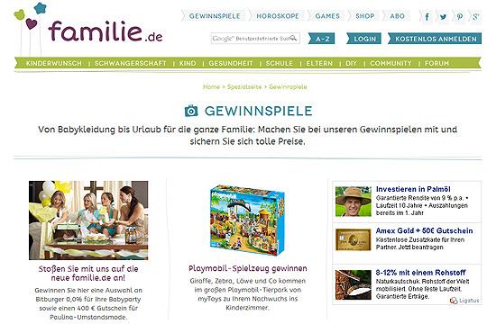 Neu auf familie.de: Gewinnspiele