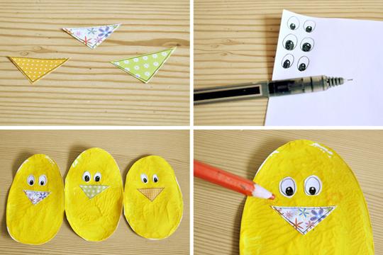Osterhühnchen: Augen und Schnäbel basteln