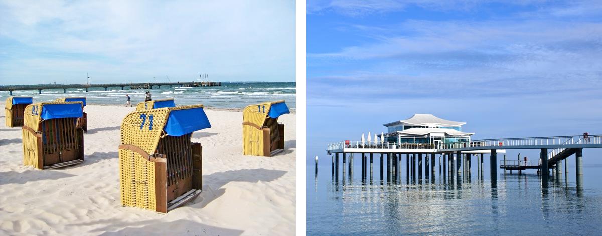 Strandkörbe und Seebrücke