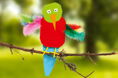 Papagei basteln aus Papier