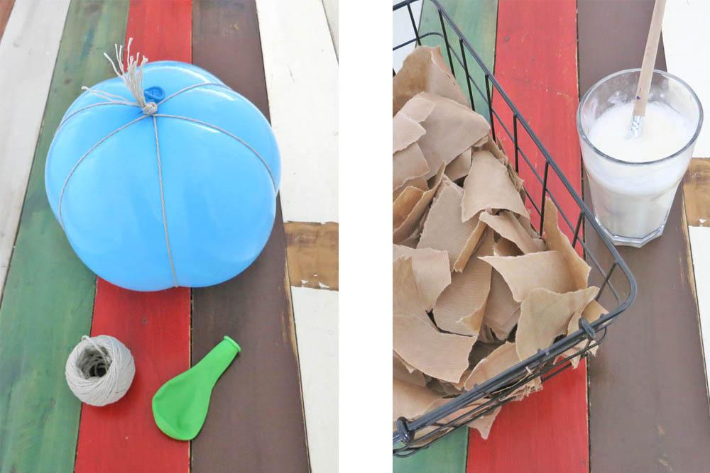 Vorbereitung für die Halloweenmaske aus Pappmaschee