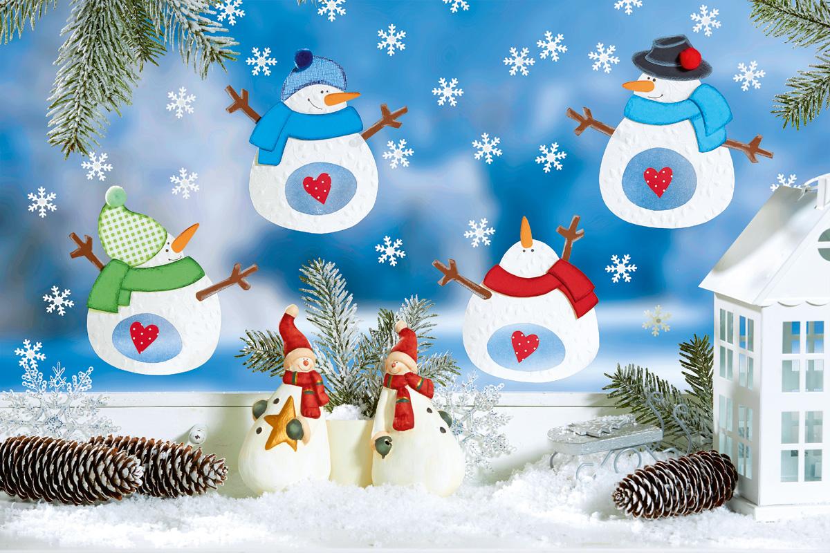 Fröhliches Schneemann Fensterbild Familiede
