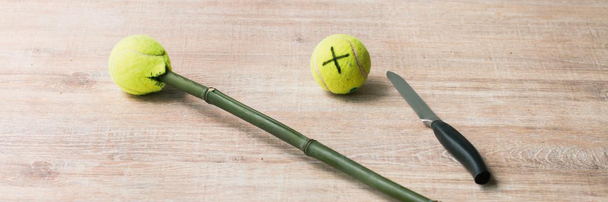 Speer bauen aus Bambusstab und Tennisball
