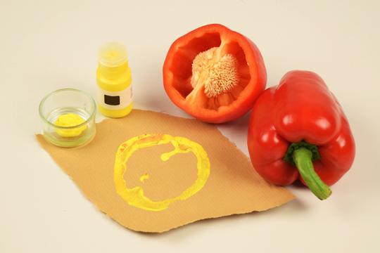Stempel selber machen mit Paprika