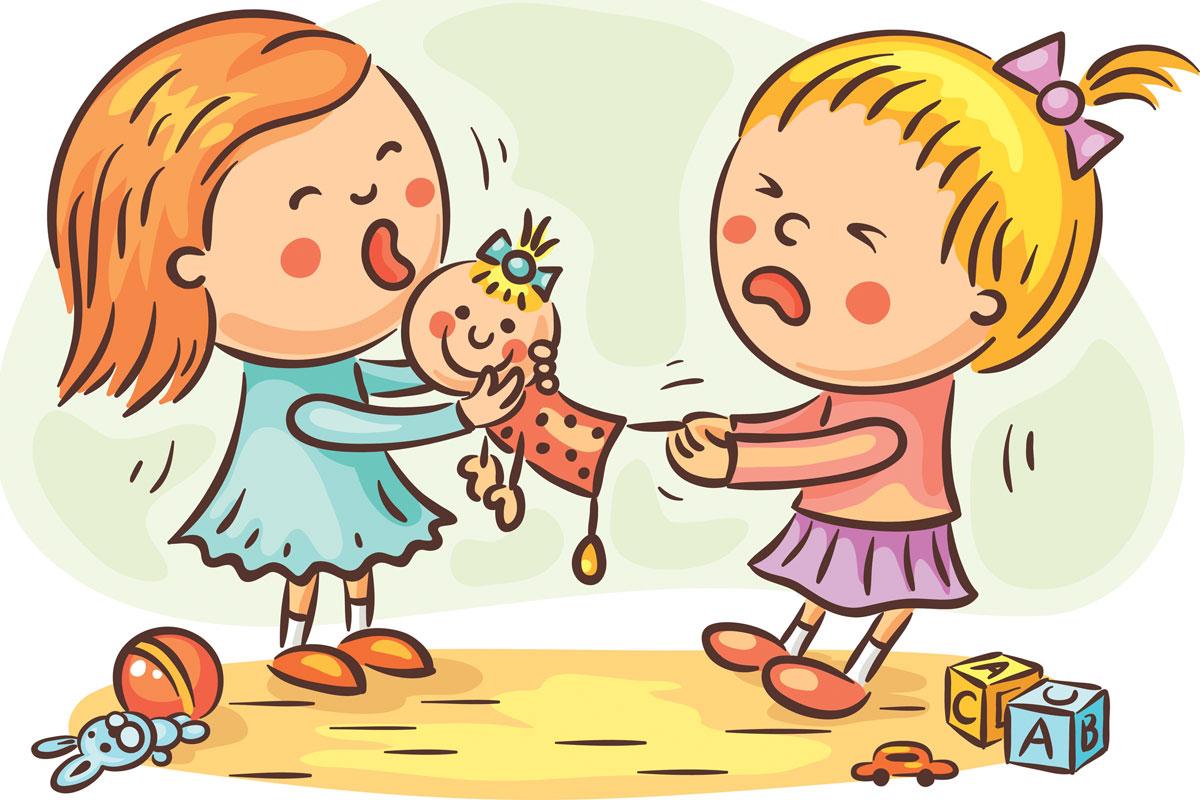 Kleinkinder streiten sich um Spielzeug