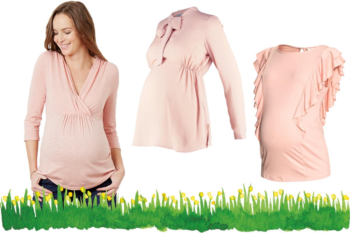 Umstandsmode Frühling 2017: Shirts & Tops in zartem Rosa