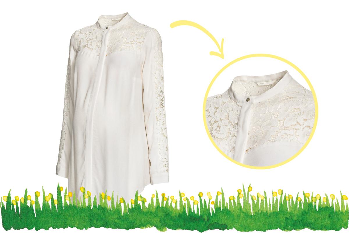 Umstandsmode Frühling 2017: weiße Bluse mit Spitze von H&M