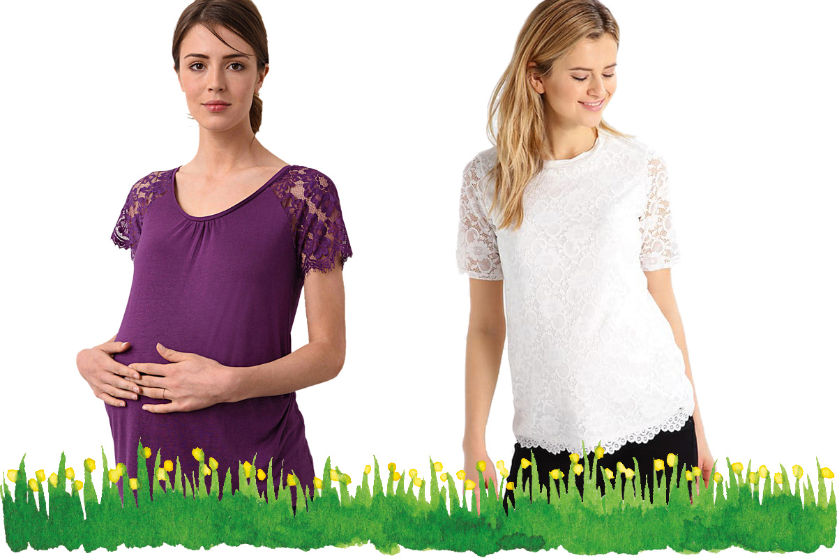 Umstandsmode Frühling 2017: T-Shirts mit Spitze