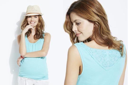 Umstandsmode Sommer 2015: Sommer-Shirt mit Spitze