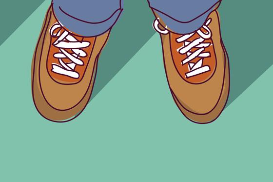 Nicht immer einfach, in den Schuhen von Papa zu stecken