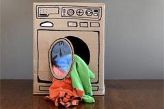 waschmaschine aus pappkarton bauen bilder. Black Bedroom Furniture Sets. Home Design Ideas