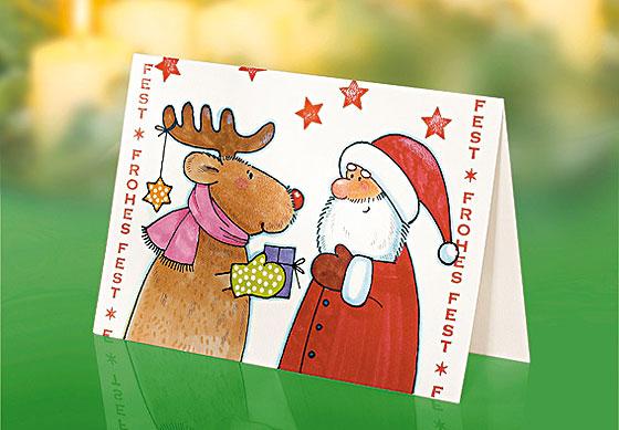 """Weihnachtskarte basteln """"Rentier und Weihnachtsmann"""""""