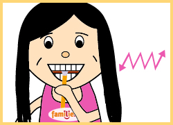 KAI: zuletzt die Innenseiten der Zähne putzen.