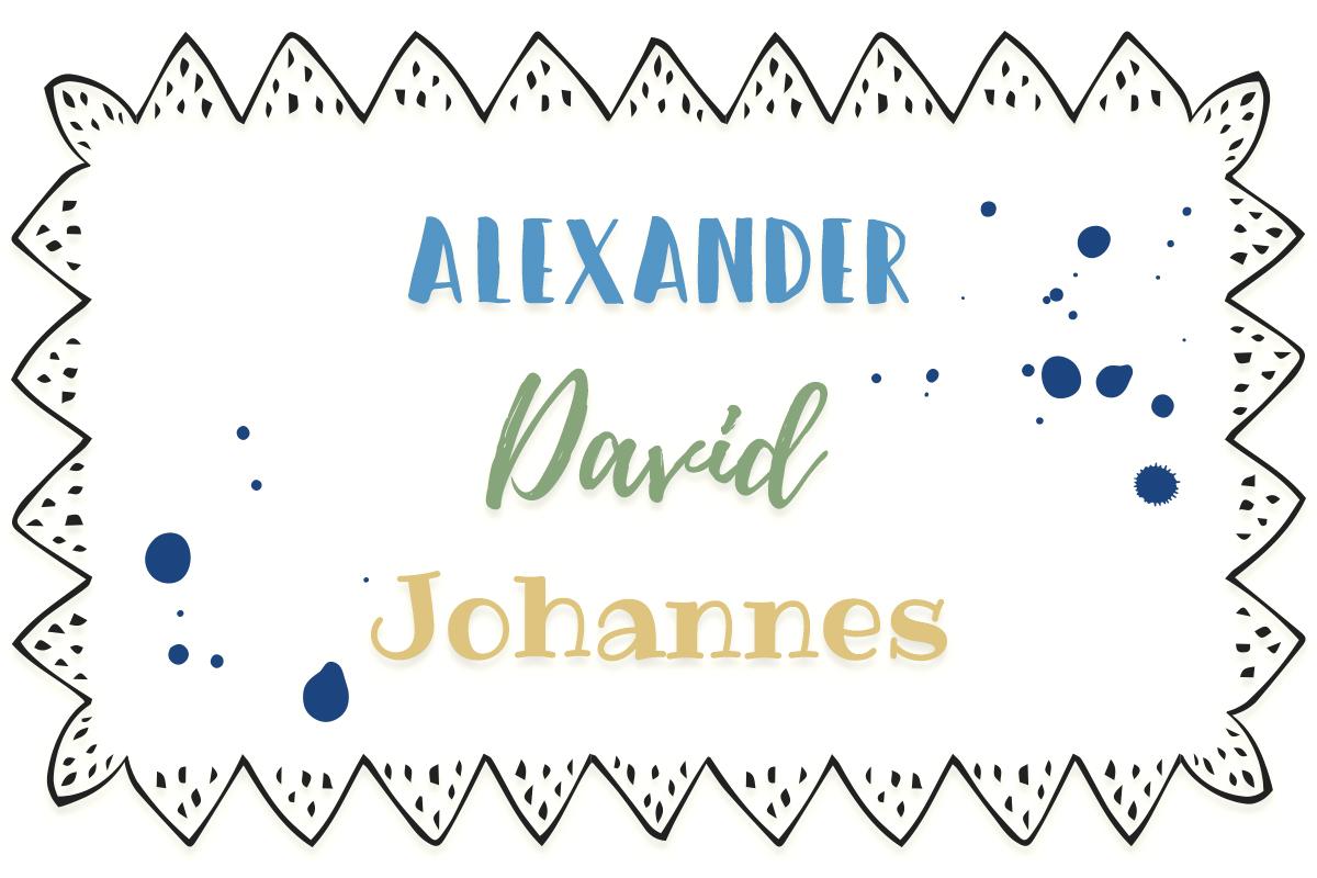 zeitlose Vornamen: Alexander, Johannes