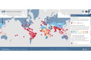 Screenshot von Karte mit Dengue-Fieber-Ausbreitung von healthmap.org